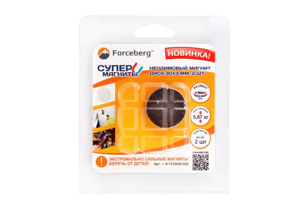 Неодимовый магнит диск 30х3 мм, 2 шт, Forceberg в Барнауле