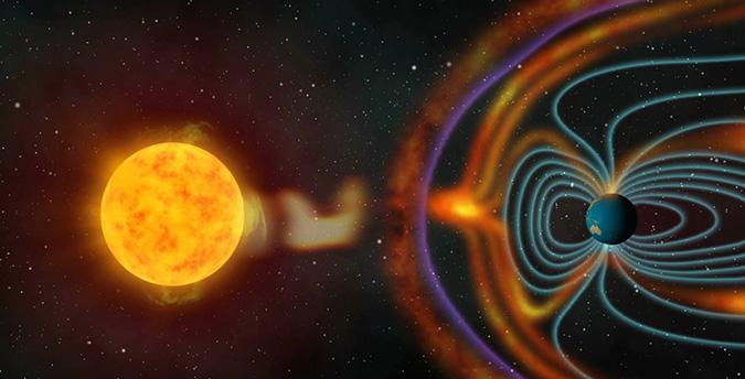 Магнитное поле Земли подхватывает поток заряженных частиц, в результате на нашей планете возникают магнитные бури