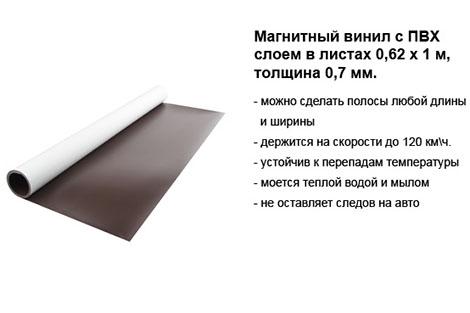 Магнитный винил с ПВХ слоем 0,62 х 1 м, толщина 0,7 мм.jpg