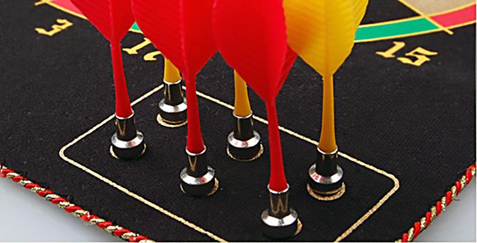 Лучший вариант для домашней игры - магнитный дартс, в котором дротики примагничиваются к мишени
