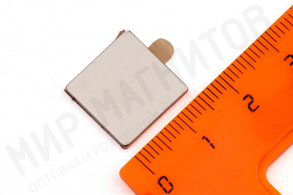 Неодимовый магнит прямоугольник 15х15х1.5 мм с клеевым слоем в Астрахани