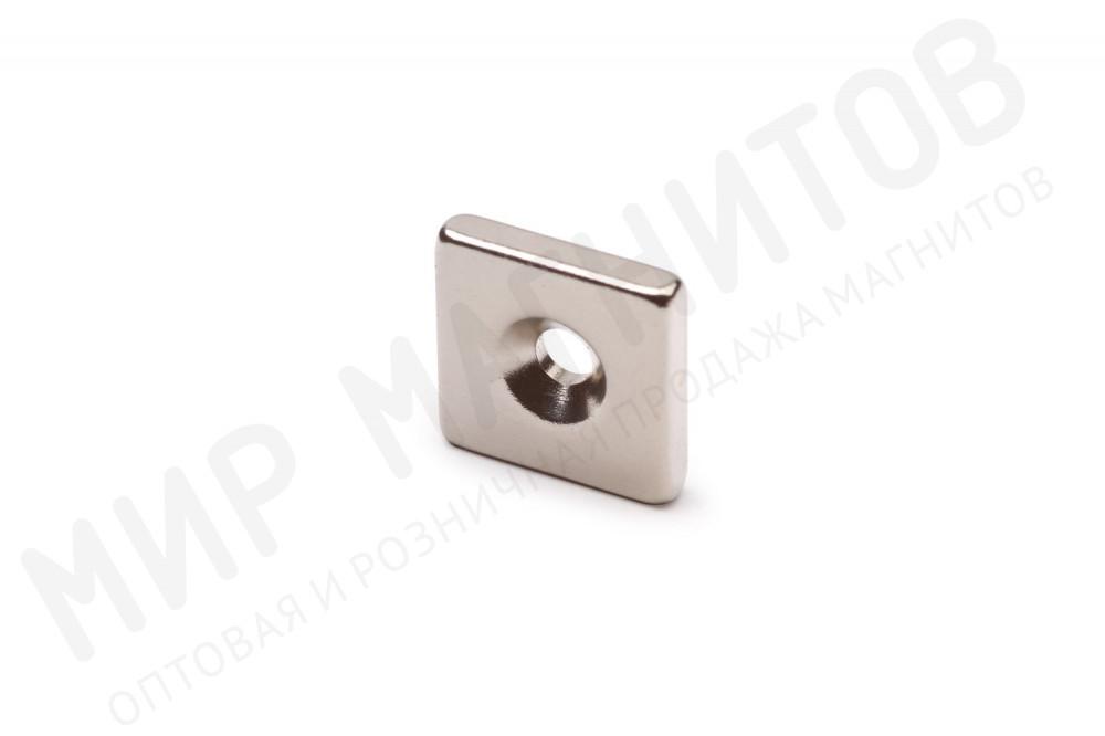 Неодимовый магнит прямоугольник 15х15х3 мм с зенковкой 3.5/7 мм в Ставрополе
