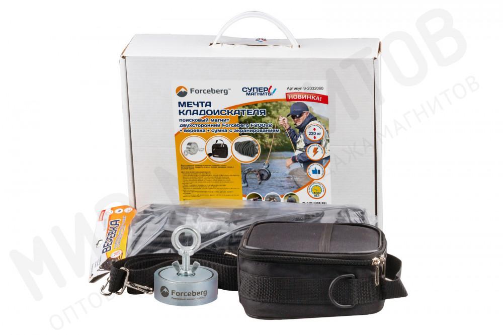 Мечта кладоискателя: поисковый магнит Forceberg 200х2 + веревка + сумка с экранированием в Смоленске