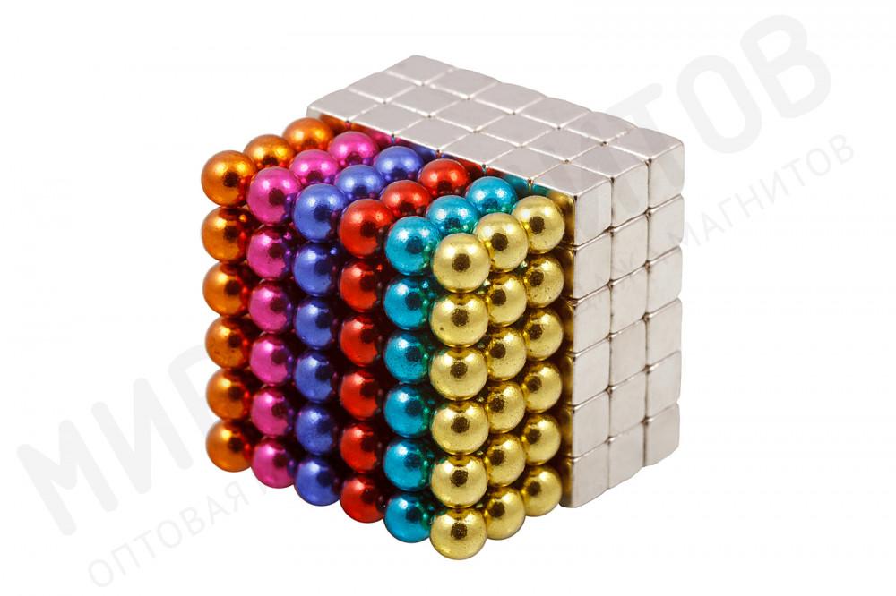 Forceberg Cube - куб из магнитных шариков и кубиков 5 мм, цветной/стальной, 216 элементов в Москве
