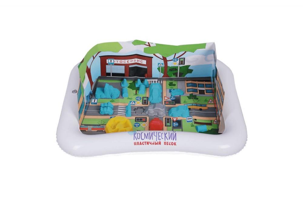 Кинетический песок Космический, набор Дорожные приключения с песочницей и 4 формочками, голубой 1 кг в Москве