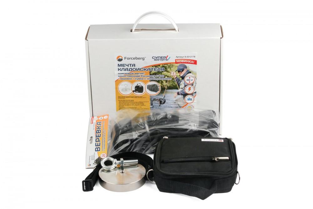 Мечта кладоискателя: поисковый магнит Forceberg F400 + веревка + сумка с экранированием в Иваново