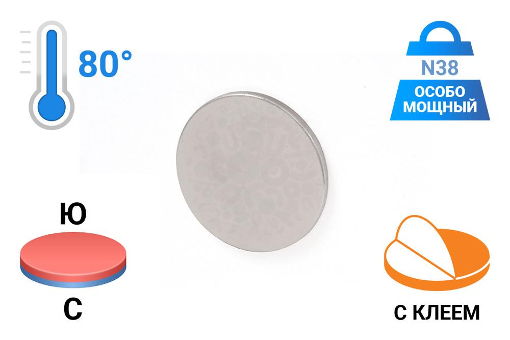 Неодимовый магнит диск 15х1 мм с клеевым слоем в Барнауле