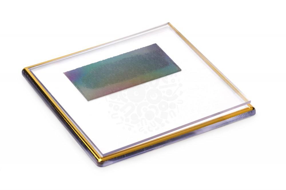Прямоугольный акриловый магнит 100х100 мм, золото в Саратове