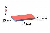 Неодимовый магнит прямоугольник 18х10х1.5 мм