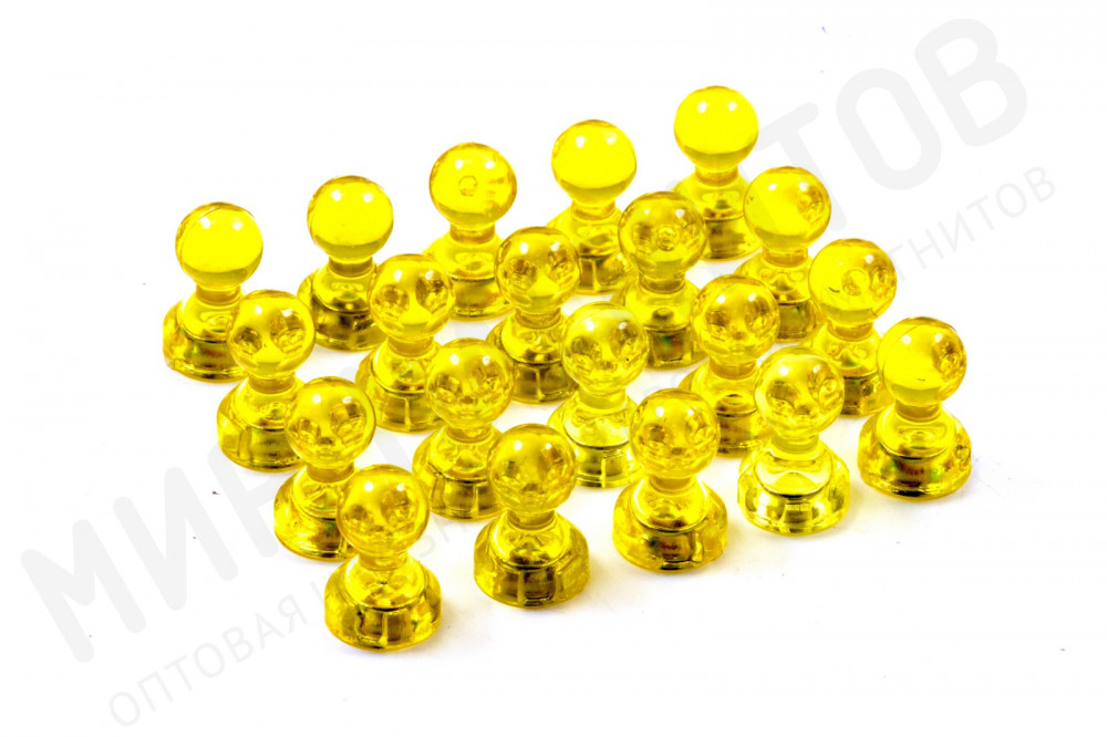Неодимовый прозрачный магнит для магнитной доски Пешка Forceberg 11х17 мм, желтый, 20 шт в Белгороде