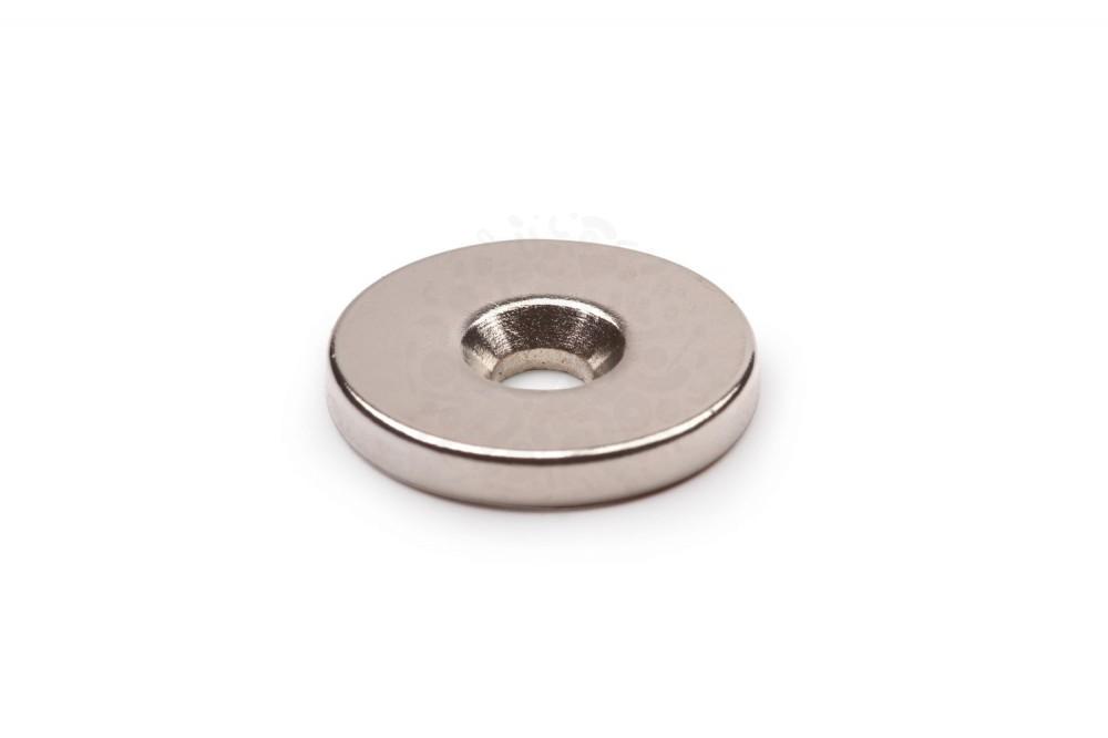 Неодимовый магнит диск 20х3 мм с зенковкой 4.5/7.5 мм в Казани