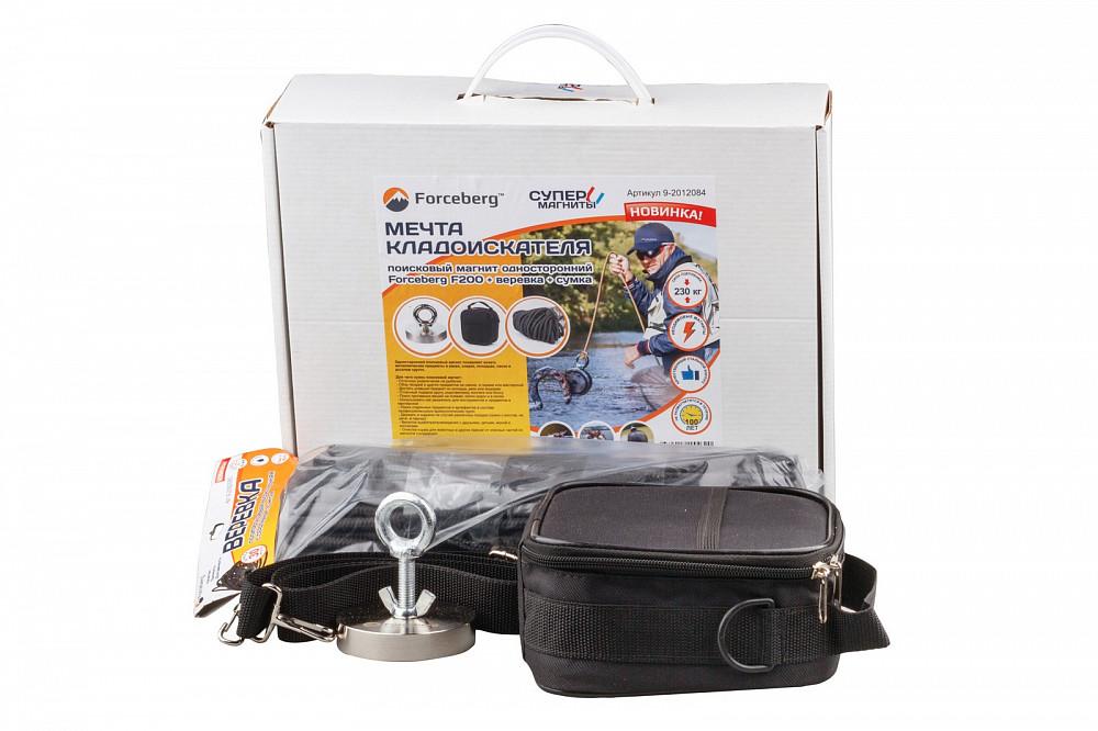 Мечта кладоискателя: поисковый магнит Forceberg F200 + веревка + сумка в Иваново