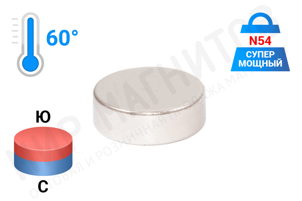 Неодимовый магнит диск 12х4 мм, N54 в Ростове-на-Дону