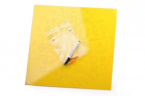 Стеклянная магнитно-маркерная доска Желтая Askell 450x450 в Воронеже