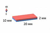 Неодимовый магнит - прямоугольник 20х10х2мм, 10шт, Forceberg