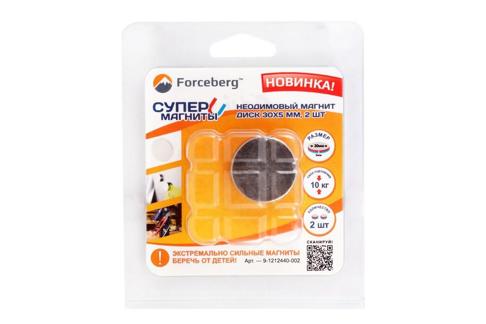 Неодимовый магнит диск 30х5 мм, 2 шт, Forceberg в Волгограде