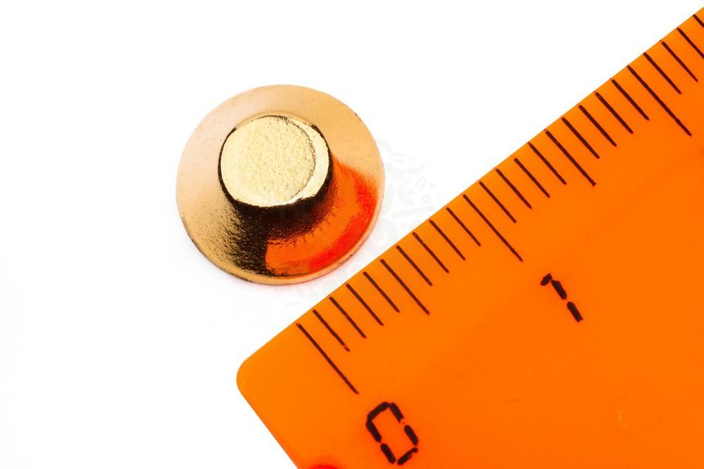 Неодимовый магнит конус 10/5х4 мм, золотой в Москве