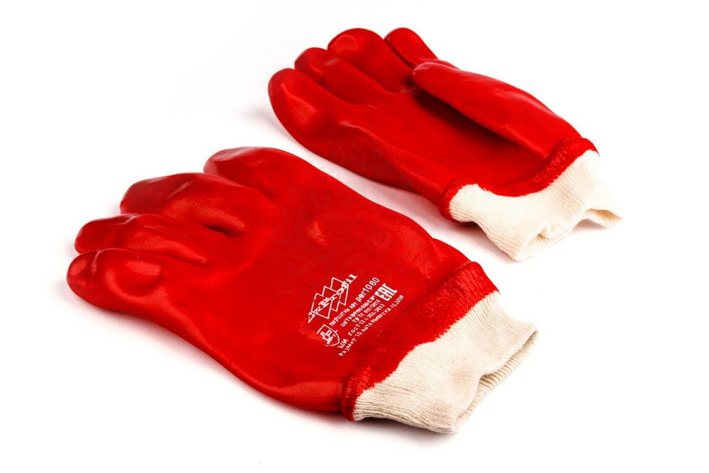Перчатки х/б с ПВХ покрытием XL, красные в Новосибирске