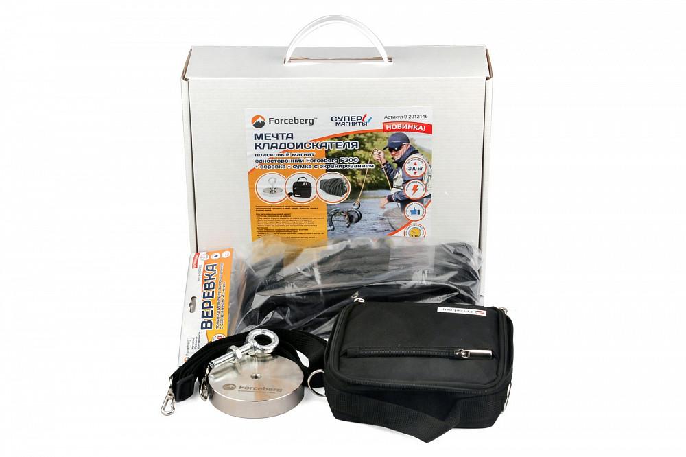 Мечта кладоискателя: поисковый магнит Forceberg F300 + веревка + сумка с экранированием в Смоленске
