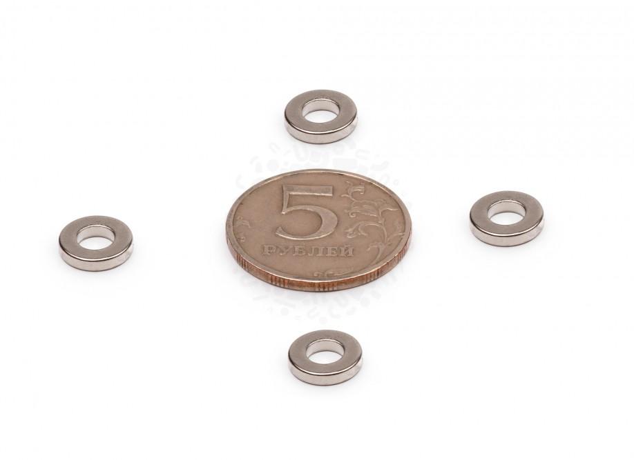 Неодимовый магнит - кольцо 10х5х2мм, 20шт, Forceberg