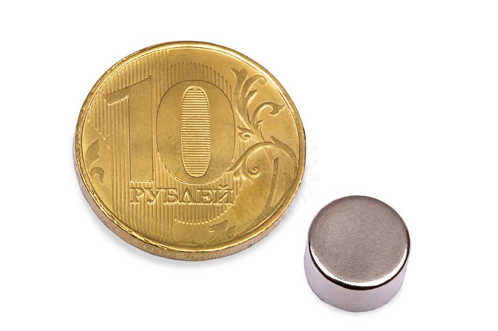 Неодимовый магнит диск 8х4 мм в Казани