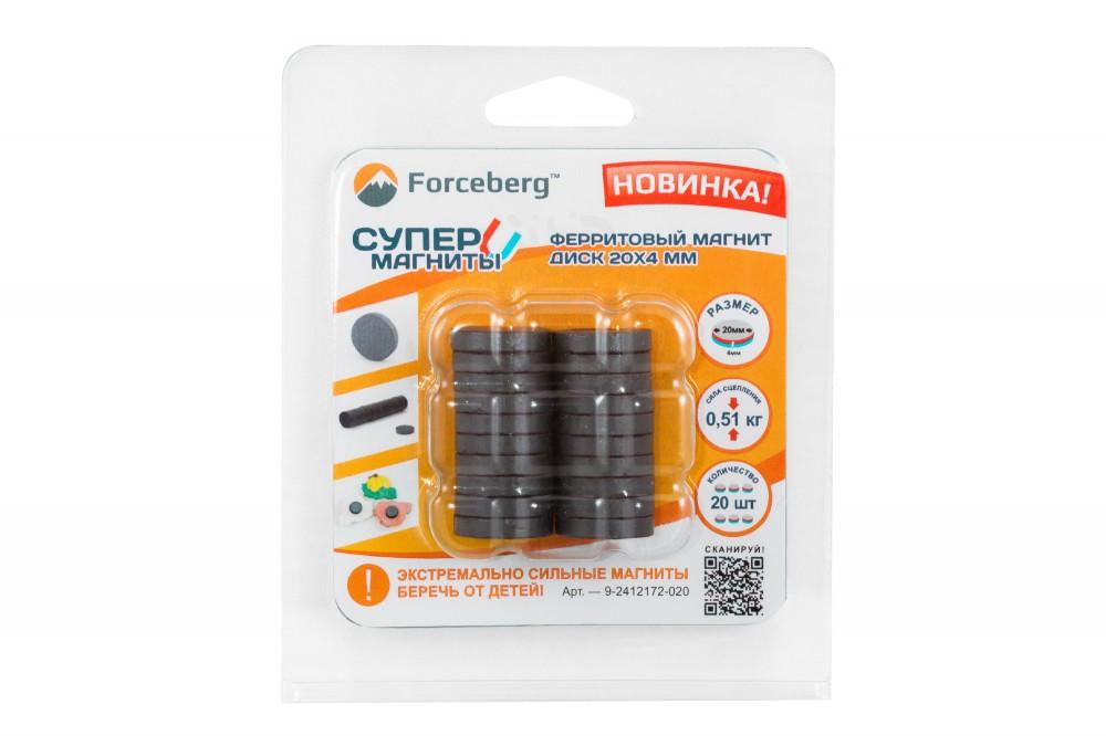 Ферритовый магнит диск 20х4 мм, 20 шт, Forceberg в Брянске