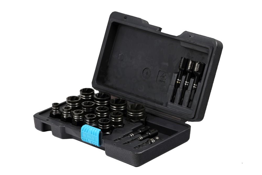 Набор торцевых головок экстракторов для болтов 8-19 мм с адаптерами, для гайковерта, 19 предметов в Иваново