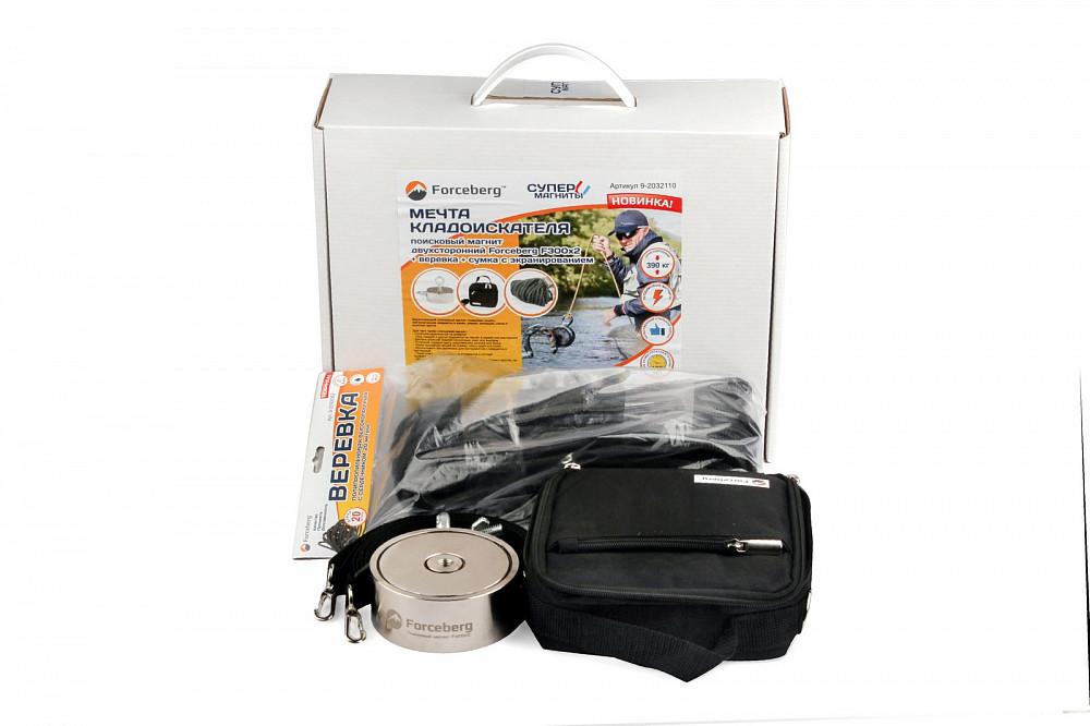 Мечта кладоискателя: поисковый магнит Forceberg F300х2 + веревка + сумка с экранированием в Белгороде