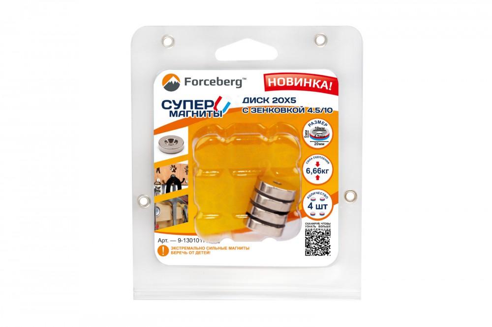 Неодимовый магнит диск Forceberg 20х5 мм с зенковкой 4.5/10, 4 шт в Волгограде