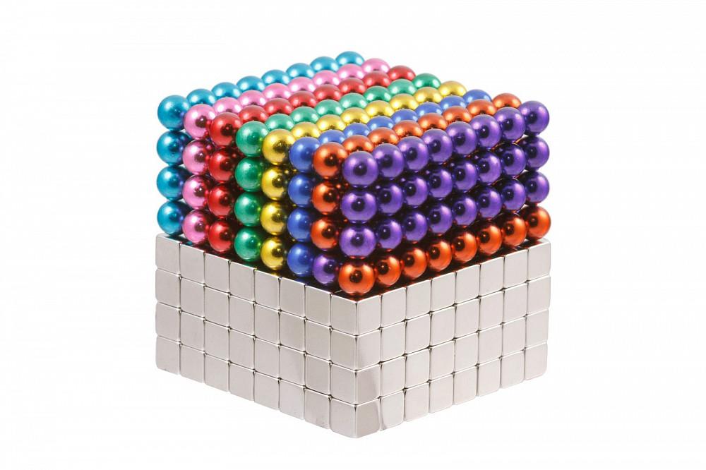 Forceberg Cube - куб из магнитных шариков и кубиков 5 мм, цветной/стальной, 512 элементов в Москве