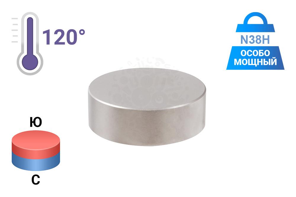Неодимовый магнит диск 60х20 мм, N38H в Ростове-на-Дону