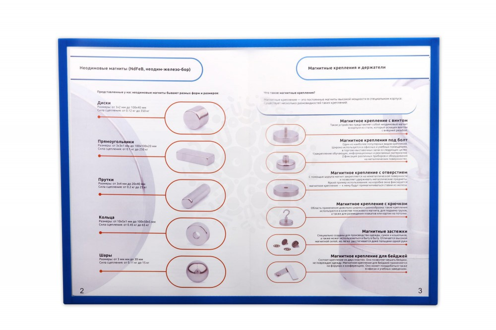 Магнитная слайд-рамка А3 матовая, синяя, 5 шт в Курске