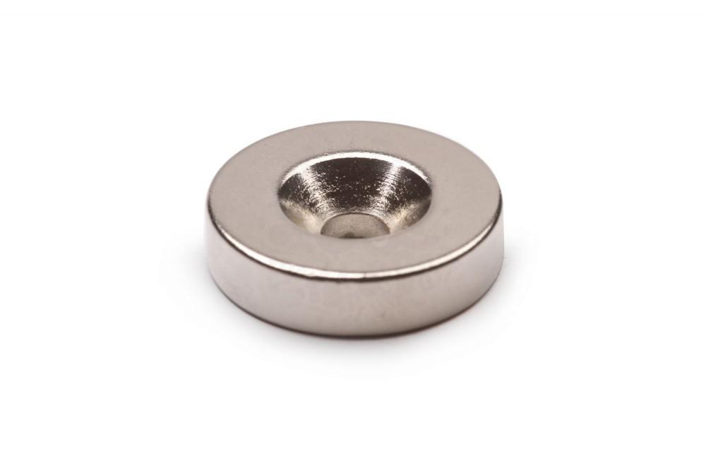 Неодимовый магнит диск 20х5 мм с зенковкой 4.5/10 мм в Красноярске