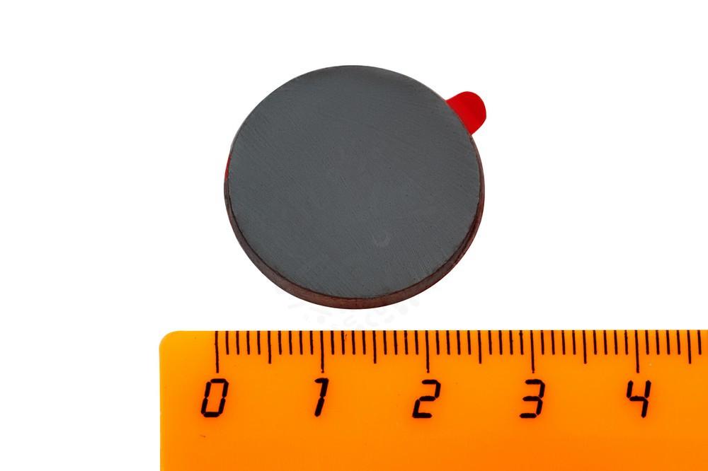 Ферритовый магнит диск 25х3 мм с клеевым слоем, 4 шт, Forceberg в Хабаровске
