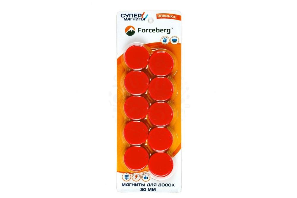 Магнит для магнитной доски Forceberg 30 мм, красный, 10шт. в Тамбове