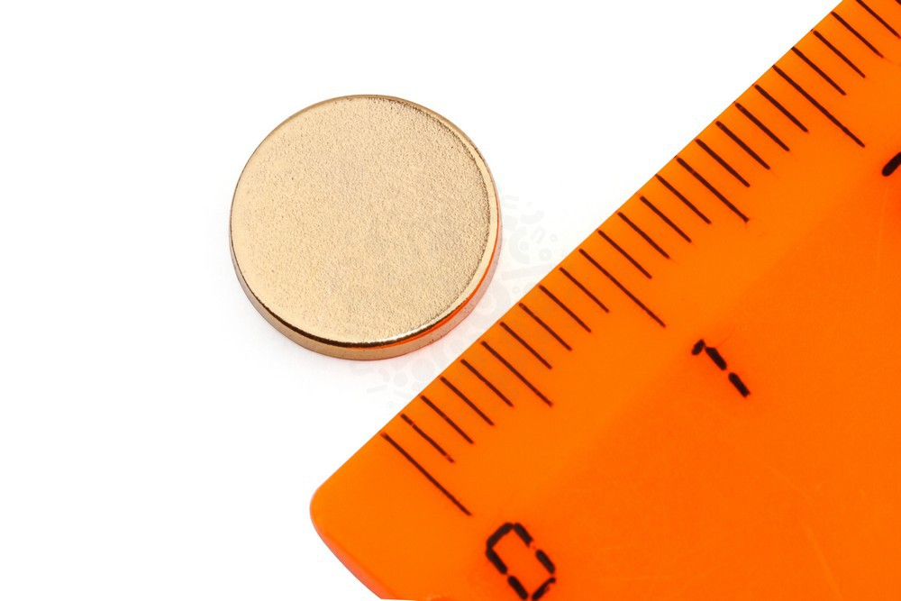 Неодимовый магнит диск 10х1.5 мм, золотой в Ижевске