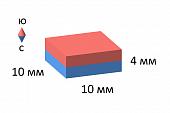 Неодимовый магнит прямоугольник 10х10х4 мм