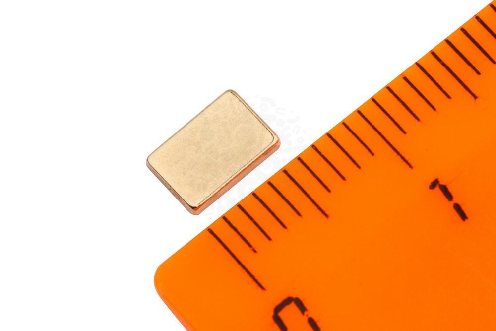Неодимовый магнит прямоугольник 6х4х1 мм, золотой в Иваново