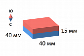 Неодимовый магнит прямоугольник 40х40х15 мм
