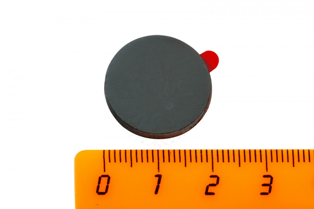 Ферритовый магнит диск 20х3 мм с клеевым слоем, 10 шт, Forceberg в Астрахани